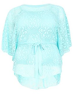 Plus Size Oversized Lace Poncho Top
