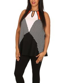 Samya Plus Size Block Chevron Swing Dress