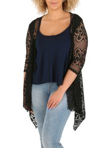 Samya Plus Size Fishnet Waterfall Cardigan