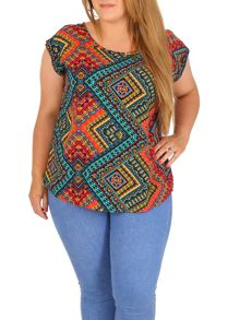 Samya Plus Size Ikat Print Top