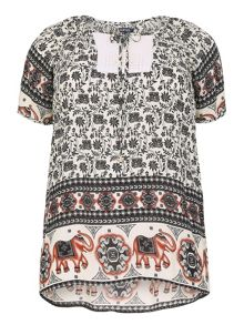 Samya Plus Size Elephant Crochet Panel Top