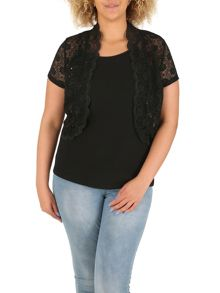 Samya Plus Size Scalloped Edge Lace Bolero