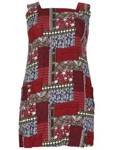 Samya Plus Size Patchwork Print Shift Dress