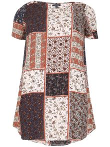 Samya Plus Size Patchwork Print Tunic Dress