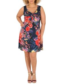 Samya Plus Size Knot Front Midi Dress