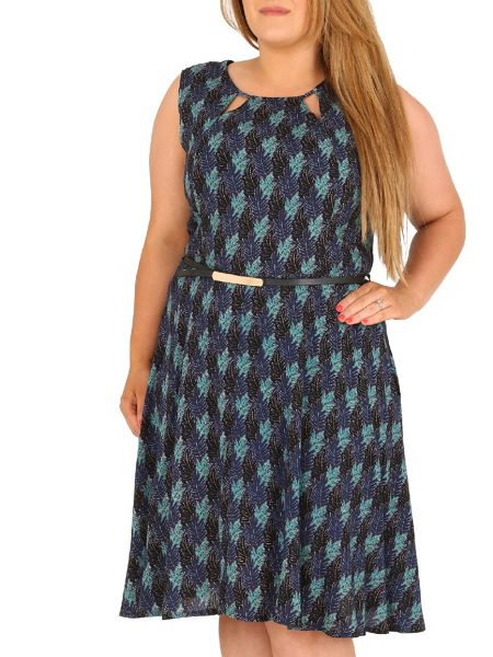 Samya Plus Size Palm Leaf Print Dress