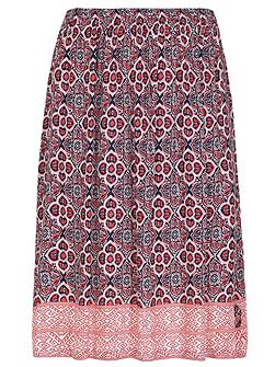 Plus Size Print Split Details Midi Skirt