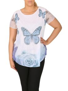 Samya Plus Size Butterfly Contrast Hem Top