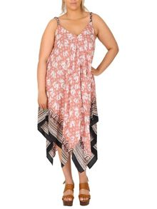 Samya Plus Size Printed Scarf Hem Dress
