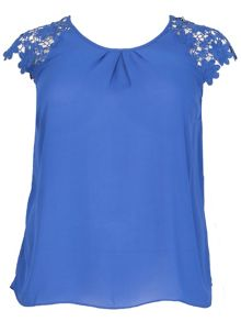 Samya Plus Size Chiffon Crochet Sleeves Top