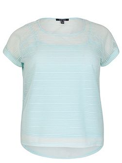 Plus Size Mesh Top With Stripe Texture