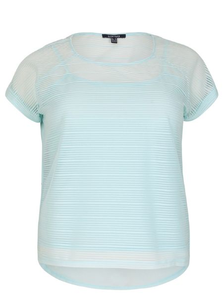 Samya Plus Size Mesh Top With Stripe Texture