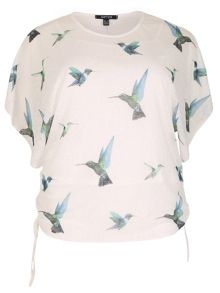 Samya Plus Size Hummingbird Print Batwing Top
