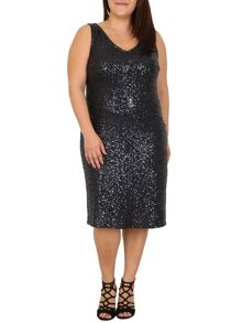 Samya Plus Size Sequin Embellished Midi Dress