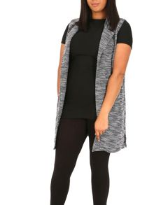 Samya Plus Size Sleeveless Monochrome Jacket