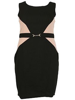 Plus Size Contrast Panel Dress With Belt