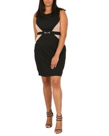 Samya Plus Size Contrast Panel Dress With Belt