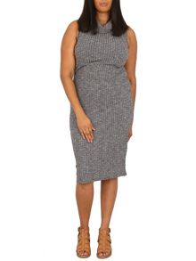 Samya Plus Size Roll Neck Ribbed Dress