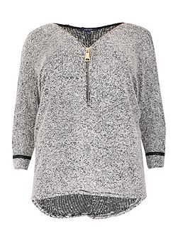 Plus Size Batwing Textured Tunic Top