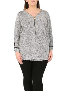 Samya Plus Size Batwing Textured Tunic Top