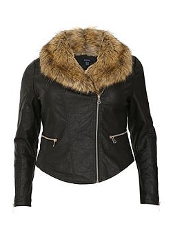 Plus Size Biker Jacket with Fur Collar