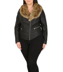 Samya Plus Size Biker Jacket with Fur Collar
