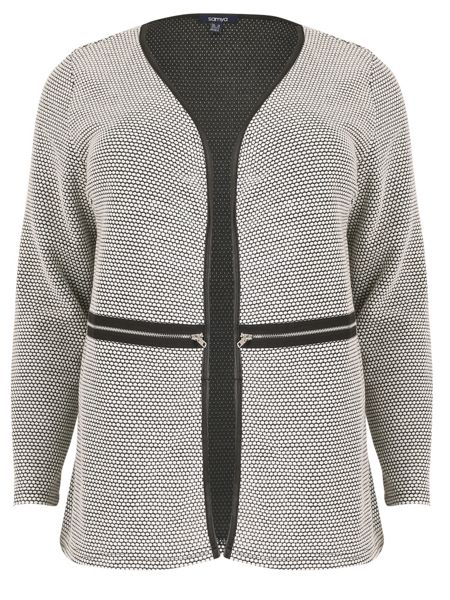 Samya Plus Size Cardigan with Zip Details