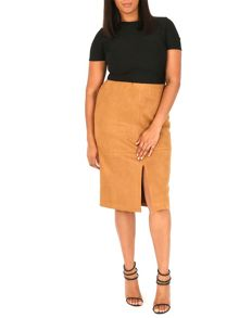 Samya Plus Size Suedette Pencil Skirt
