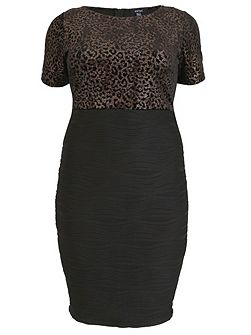 Plus Size Leopard Print Bodice Dress