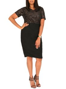 Samya Plus Size Leopard Print Bodice Dress