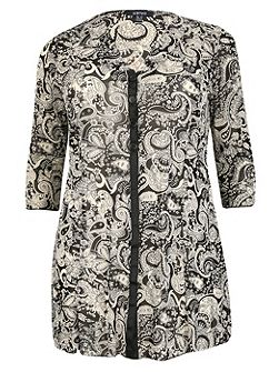 Plus Size Paisley Print Buttoned Tunic