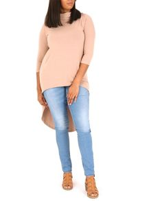 Samya Plus Size Roll Neck High Low Hem Top
