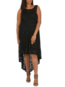 Samya Plus Size Dipped Hem Laced Vintage Dress