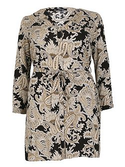 Plus Size Paisley V-Neck Dress