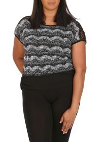 Samya Plus Size Contrast Layered Top