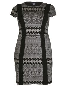 Samya Plus Size Contrast Stripe Bodycon Dress