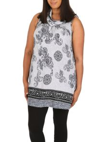 Samya Plus Size Printed Cowl Neck Tunic