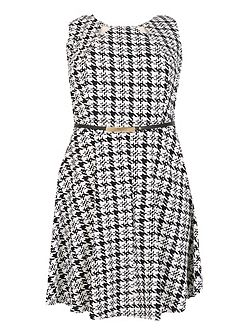 Plus Size Dogtooth Fit And Flare Dress