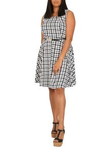 Samya Plus Size Dogtooth Fit And Flare Dress