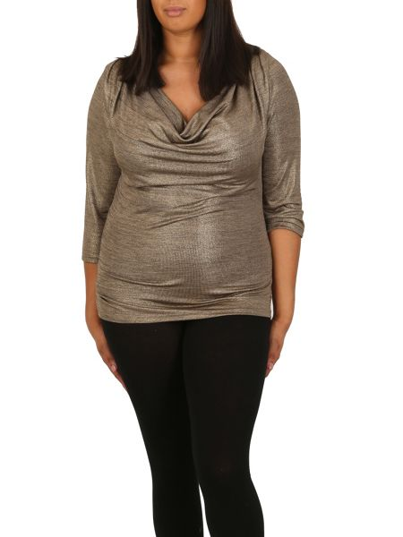 Samya Plus Size Drape Cut Shimmer Top