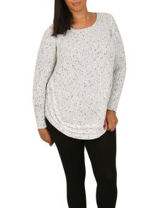 Samya Plus Size Jumper With Cable Knit Border