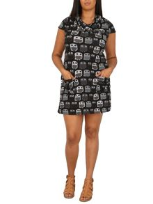 Samya Plus Size Owl Print Knit Dress