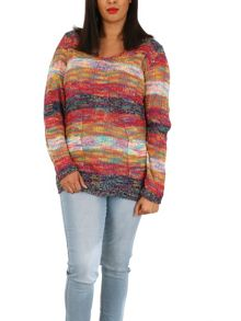 Samya Plus Size Multi-Knit V-Neck Jumper