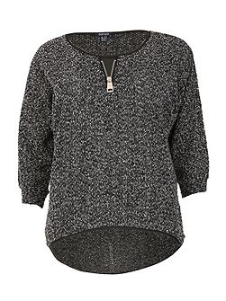 Plus Size Boucle Decorative Zip Top