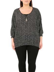 Samya Plus Size Boucle Decorative Zip Top