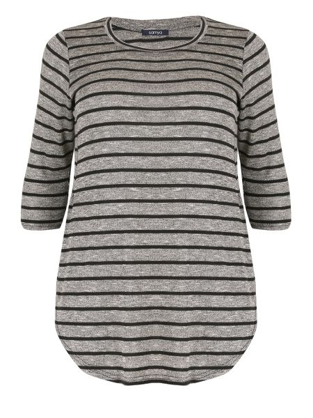 Samya Plus Size Curved Hem Stripe Top