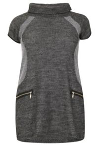Samya Plus Size Roll Neck Knit Dress With Zips