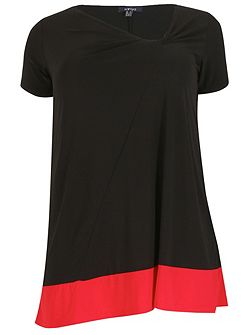 Plus Size Twisted Neck Contrast Top