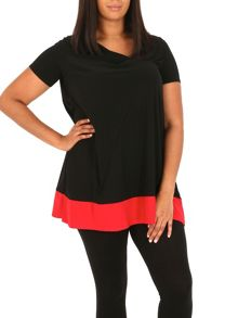 Samya Plus Size Twisted Neck Contrast Top
