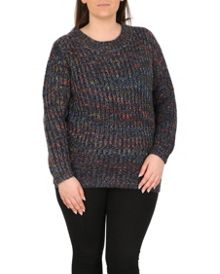 Samya Plus Size Colour Mix Chunky Jumper